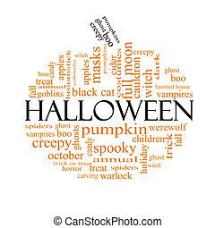 Halloween word cloud concept in Pumpkin Shape