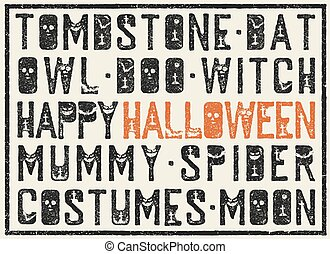 Halloween words decorative poster. Grunge stamp letters with...