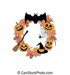 Halloween wreath illustration