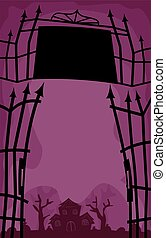 Halloween Wrought Iron Gate Open