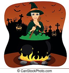witch making potion cauldron illustration of a witch mixing potions