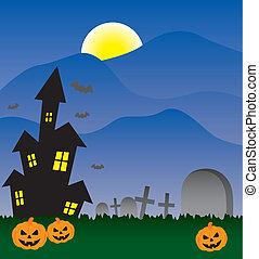 halloween, zaproszenie, uczęszczany dom