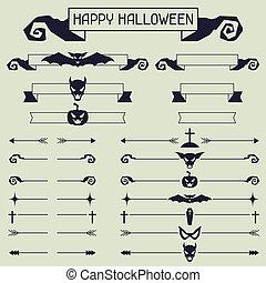 halloween, zbiór, od, projektować, elements.