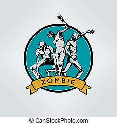 halloween, zombie., emblema