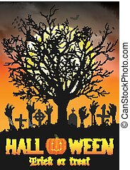 halloween zombie hand on grave with dead tree
