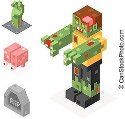 Halloween Zombie Icons Set Grave Hand Brain Trick or Treat Flat Design Isometric 3d Vector Illustration
