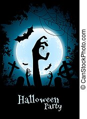 Halloween Zombie Party Poster. Holiday Card. - Halloween ...