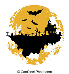 Halloween Zombie Party Poster. Holiday Card.