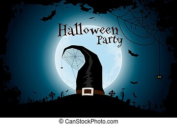 Halloween Zombie Party Poster with Hat