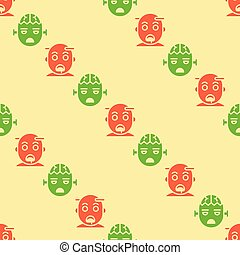 Halloween zombie seamless pattern, flat design with clipping mask