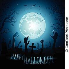 halloween, zombies, bakgrund, måne