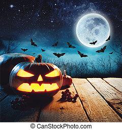 halloween, zucca, in, uno, scuro, foschia, forest., elementi, di, questo, immagine, ammobiliato, vicino, nasa