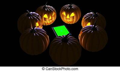 halloween, zucca, intorno, ipad.