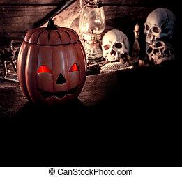 halloween, zucca, trucco festa, scena