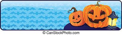 halloween, zucche, bandiera