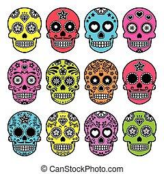 halloween, zucchero, cranio, messicano