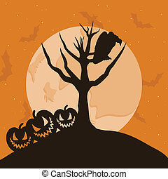 The raven sits on a tree branch. A vector illustration