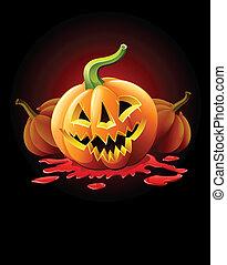 halloweenkuerbis, buchse-o-laterne, in, blut