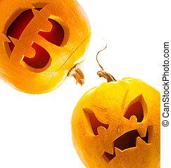 halloweenkuerbis, freigestellt, weiß, hintergrund
