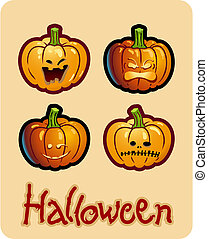 halloween\'s drawing - four grimacing pumpkin heads of...
