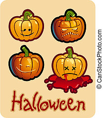 halloween\'s drawing - four pumpkin heads of Jack-O-Lantern ; one is bleeding