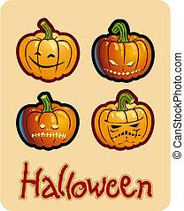 halloween's drawing - four scary pumpkin heads of Jack-O-Lantern