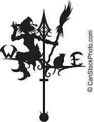 Illustration a silhouette of a wind vane. A Witch and a cat are sitting on it. W, E letters are my own design. Available in vector EPS format.
