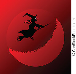 Hallowen - A halloween witch flying over a blood red moon