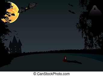 Hallowen - Bat night under the moon. Vector illusration