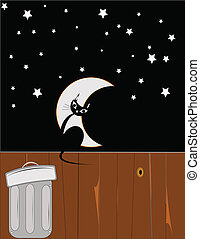 hallowen cat - Halloween cat on fence in alley with crescent...