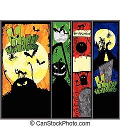 hallowen, set, bandiere