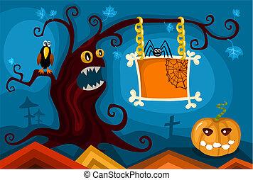 hallowen, set, scheda
