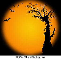 Hallowwen background illustration with bat tree - Hallowwen...