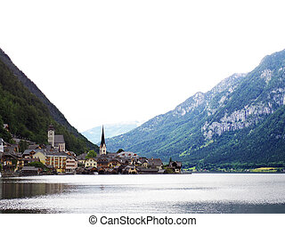 Hallstatt Austria landmark church view with lake and mountain surrounding