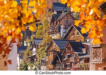 Hallstatt, historic town. Autumn in Alps, Austria