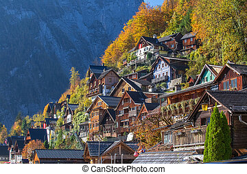 Hallstatt in autumn, colorful town in Alps. Austria