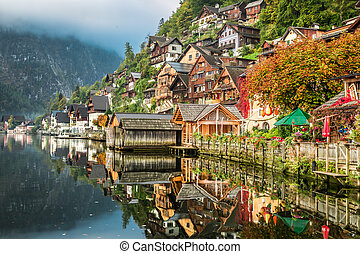 Hallstatt on the lake in autumn