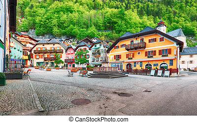 Hallstatt square in Austria Alps mountain