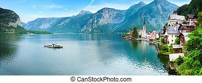 Beautiful summer Alpine Hallstatt Town and lake Hallstatter See view (Austria). Two shots stitch image.