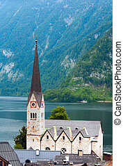 Beautiful summer Alpine Hallstatt Town and lake Hallstatter See view (Austria)