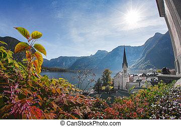 hallstatt, -, vila, em, alps austrian