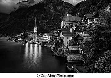 Hallstatt Village Austria . Hallstatt at Sunset. Black and White Photography