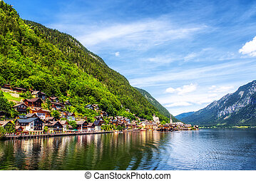 Hallstatt village on Hallstatter lake in Austria.