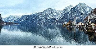 Winter Alpine Hallstatt Town and lake Hallstatter See view (Austria). Panorama.