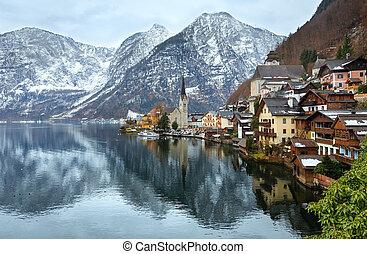 Winter Alpine Hallstatt Town and lake Hallstatter See view (Austria)