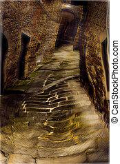 hallucination in old alley - junkie drunk vision,...