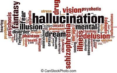 Hallucination word cloud concept. Vector illustration