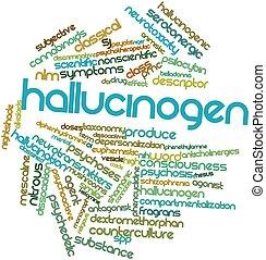 hallucinogène, mot, nuage