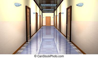 Hallway  - 3d illustration, hallway