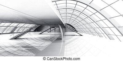 Hallway Architecture - 3D rendered Illustration.